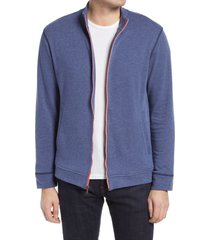 men's robert graham lion zip up men's knit lounge jacket, size x-large - blue