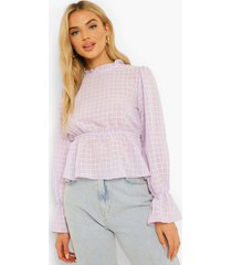 dobby mesh peplum blouse, lilac