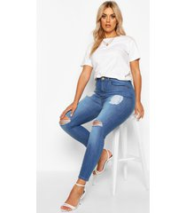 plus distressed high waist skinny jeans, mid blue