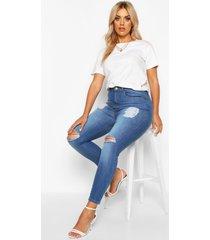 plus versleten skinny jeans met hoge taille, middenblauw