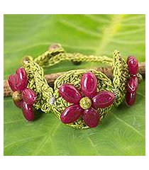 beaded flower bracelet, 'pink blossoming rhyme' (thailand)