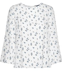 d1. button back print top blouse lange mouwen wit gant