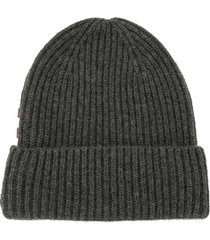 bally ribbed knit cashmere beanie - grey