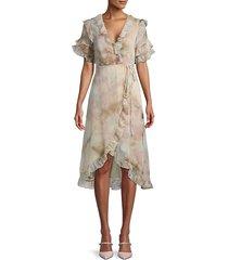 tie-dye ruffle wrap dress