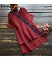 zanzea verano de las mujeres con cuello en v flojo holgado suéter superior tee camiseta túnica de la blusa caliente -rojo