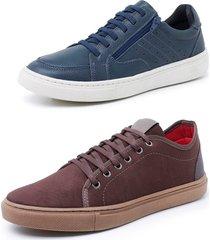 kit 2 sapatenis sandalo soft azul e levit marrom