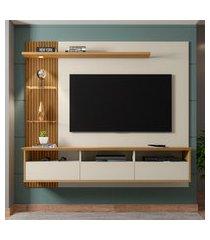painel trend para tv até 60 pol móveis bechara 3 portas off white e cinamomo