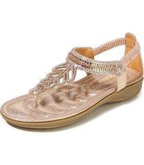 sandalias con cuentas de diamantes de imitación de t-leaf para mujer-rosa