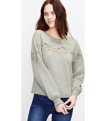 loft floral lace trim sweatshirt