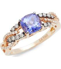 link chocolatier® 14k strawberry gold® blueberry tanzanite®, chocolate diamonds® & vanilla diamonds® ring