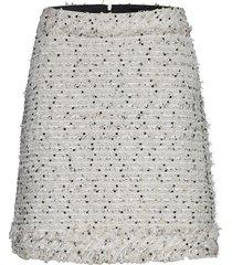 boucle skirt w/ fringes kort kjol vit karl lagerfeld