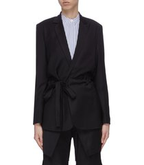 'wutong' notch lapel belted wool-blend blazer