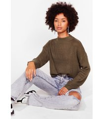 womens had knit good crew neck sweater - khaki