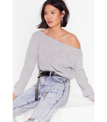 womens something's off-the-shoulder knitted sweater - grey marl