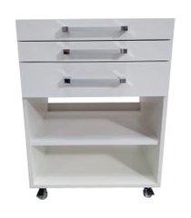 gaveteiro auxiliar odontológico com 2 gavetas e nichos branco - ds móveis