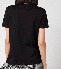 balmain women's 3 button flocked logo t-shirt - noir/white - l