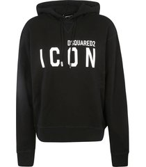 dsquared2 icon print hooded sweatshirt