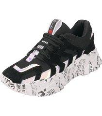 tenis moda dama sneakers negro tellenzi 228