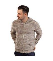 jaqueta de malha com capuz e bolso sumaré masculina