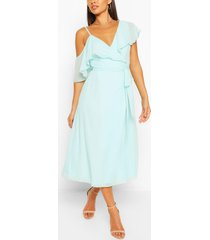 chiffon cold shoulder wrap midi skater dress, pastel blue