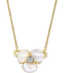 kate spade new york gold-tone pave & mother-of-pearl flower pendant necklace