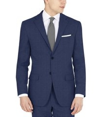 dkny men's blue tic modern-fit performance stretch suit separates jacket