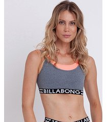 top billabong grey rose feminina