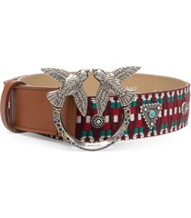 pinko love embroidered leather belt - green