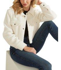 guess teddy crop trucker jacket