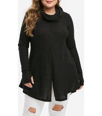 plus size cowl neck slit tunic knitwear