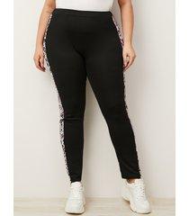 pantalones de patchwork de leopardo negro de talla grande