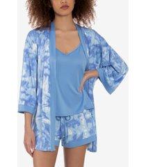 linea donatella tie-dyed robe, cami & shorts 3pc pajama set