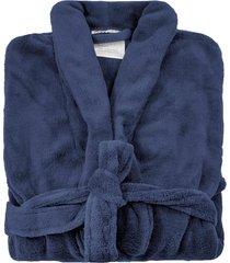 roupã£o de banho microfibra soft camesa azul marinho - grade - azul marinho - dafiti