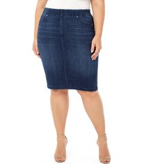 plus size women's liverpool chloe pull-on denim pencil skirt