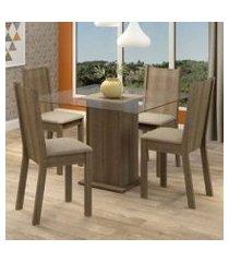 conjunto sala de jantar madesa maya mesa tampo de vidro com 4 cadeiras rustic/pérola