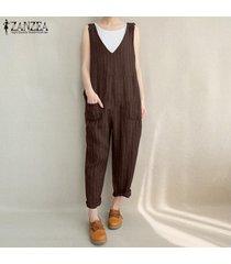 zanzea mujeres sin mangas de cuello en v bib pantalones trajes de playsuit mameluco del mono -marrón