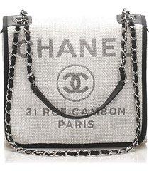 chanel small deauville straw crossbody bag gray, black sz: s