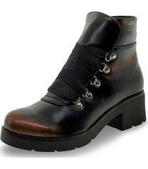 bota feminina coturno florentina - bx001 preto 34