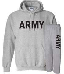 us army sweatshirt hoodie & sweatpants combo set military war sport gray453