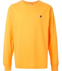 a bathing ape® ape head long-sleeve t-shirt - yellow