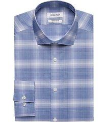 calvin klein infinite non-iron blue plaid slim fit dress shirt