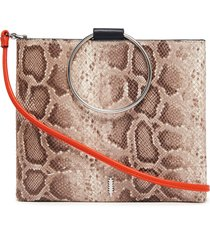 thacker le pouch ring handle snake embossed leather crossbody bag -