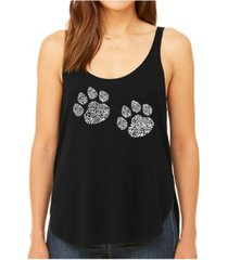 la pop art women's premium word art flowy tank top- meow cat prints