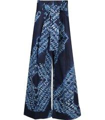 p.a.r.o.s.h. tie-dye wide leg trousers - blue