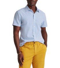 men's bonobos riviera slim fit stripe short sleeve button-up shirt, size x-large - blue