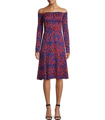 off-the-shoulder abstract print dress