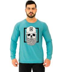 camiseta manga longa moletinho alto conceito caveira hipster moldura barba bonã© azul piscina - azul - masculino - algodã£o - dafiti