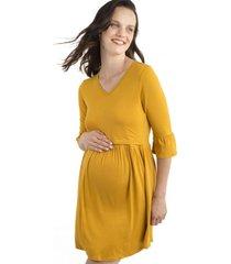 vestido maternal y lactancia aurelia mostaza madremia