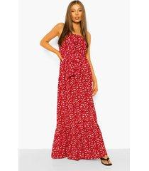 geknoopte strapless bloemenpatroon maxi jurk, red