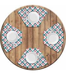 jogo americano love decor para mesa redonda wevans abstrato colorido kit com 4 pçs
